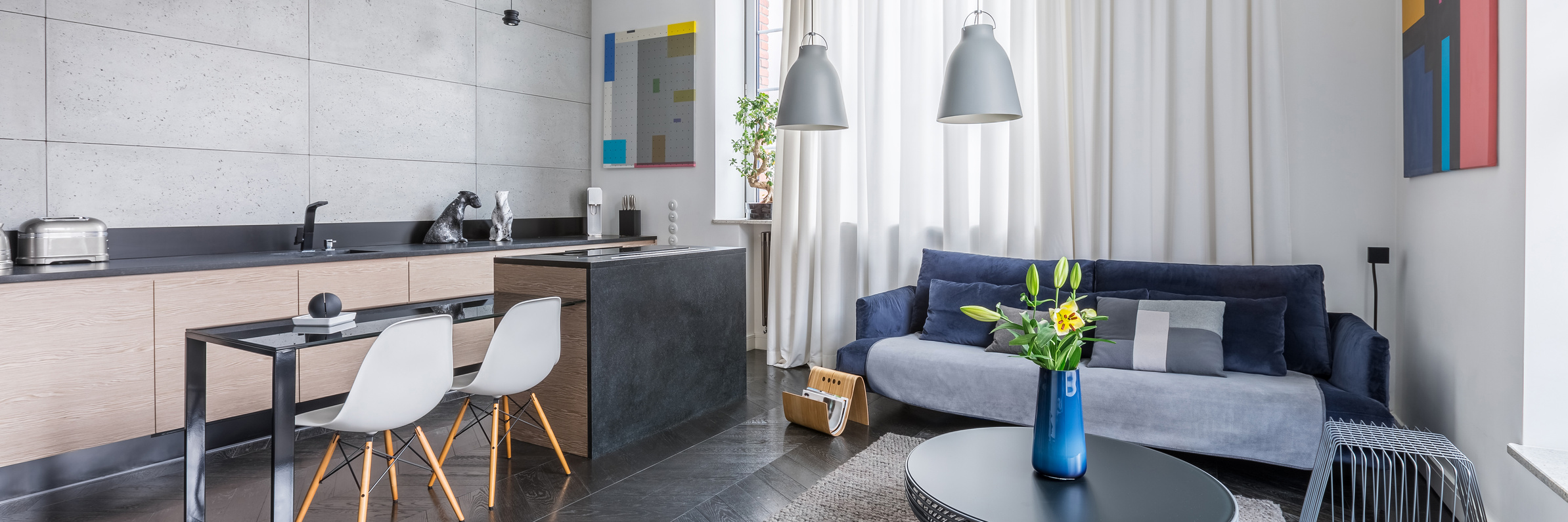 Panorama of multifunctional apartment with living room and kitchen combined